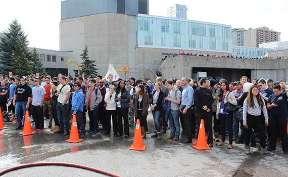 Fire Prevention Event - Students Watch Demonstration
