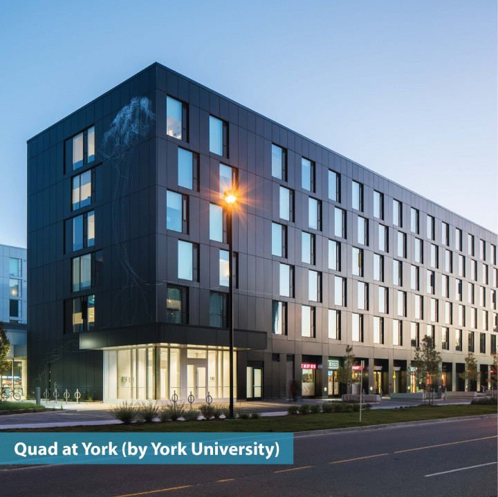 exterior shot of the Quad at York by York university